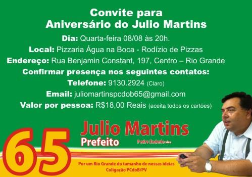 convite, aniversário, Julio, Martins