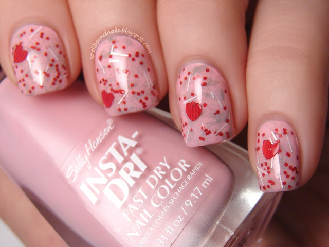 nails nailart nail art polish mani manicure Spellbound Lacquer glitter bars squares hearts red pink grey gray saran wrap Mixed Feelings indie holiday V-Day Valentine's Valentines Day Sally Hansen Pink Blink NYC New York Color Sidewalkers