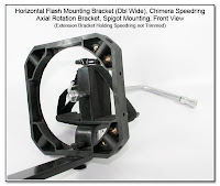 Horizontal Flash Mounting Bracket - Double Wide, Rigid Umbrella Riser, Chimera Speedring, Axial Rotation Bracket Spigot Mounting (front view, no flash units attached)