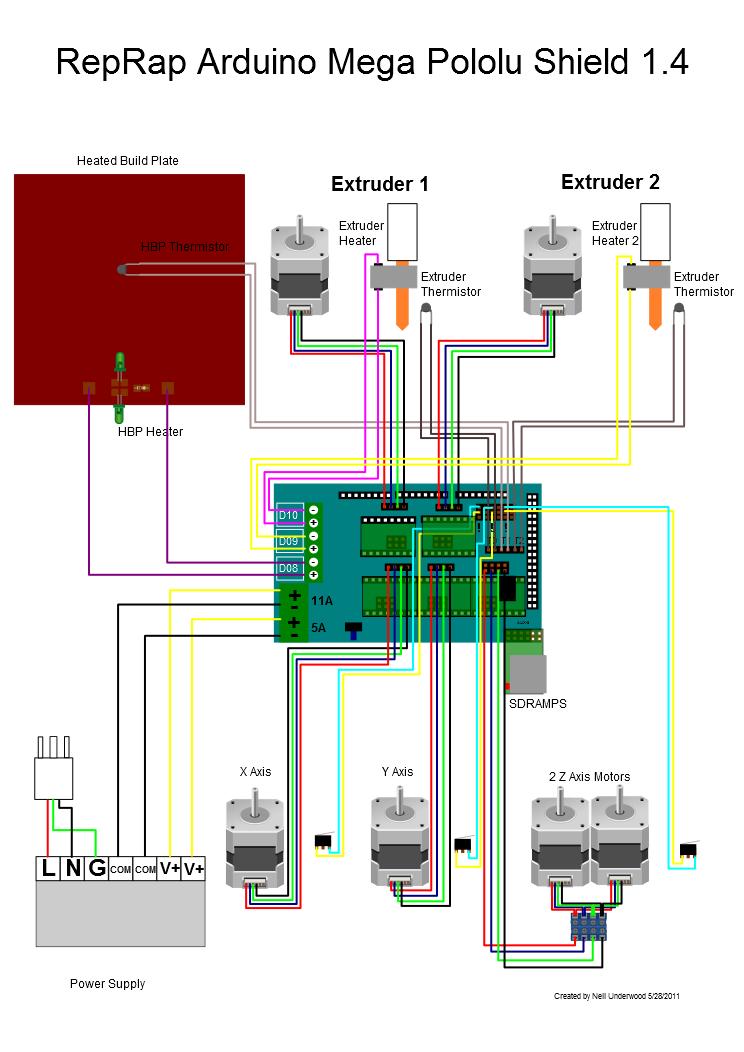 Схема подключения RAMPS 1.4