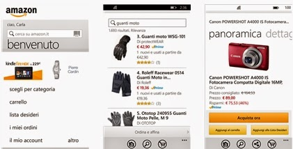 AMAZON DOWNLOAD APPLICAZIONE UFFICIALE PER SMARTPHONE WINDOWS PHONE IN ITALIANO