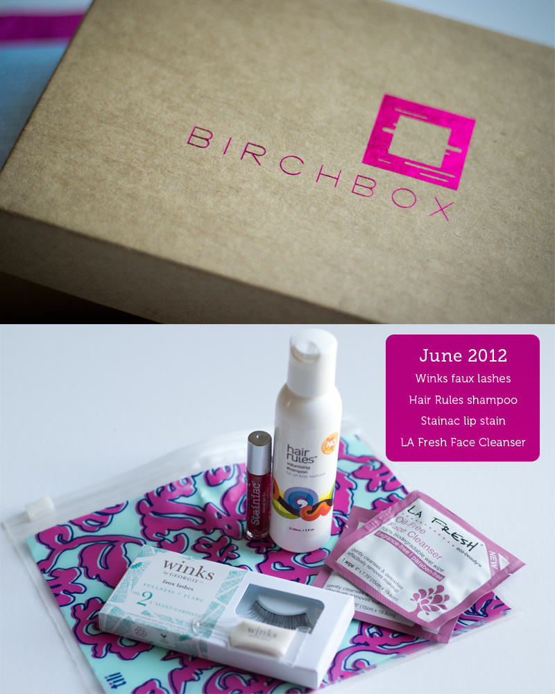 June 2012 Birchbox contents including: winks faux lashes, hair rules shampoo, stainac lip stain, la rules face wipes