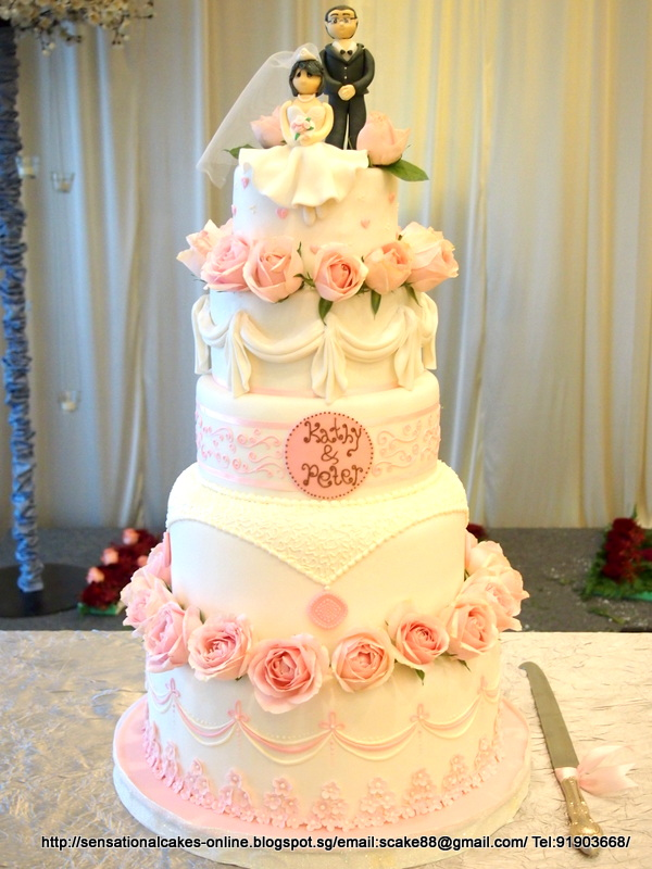 The Sensational Cakes: 5 TIER ROMANTIC WEDDING CAKE SINGAPORE / PINK ...