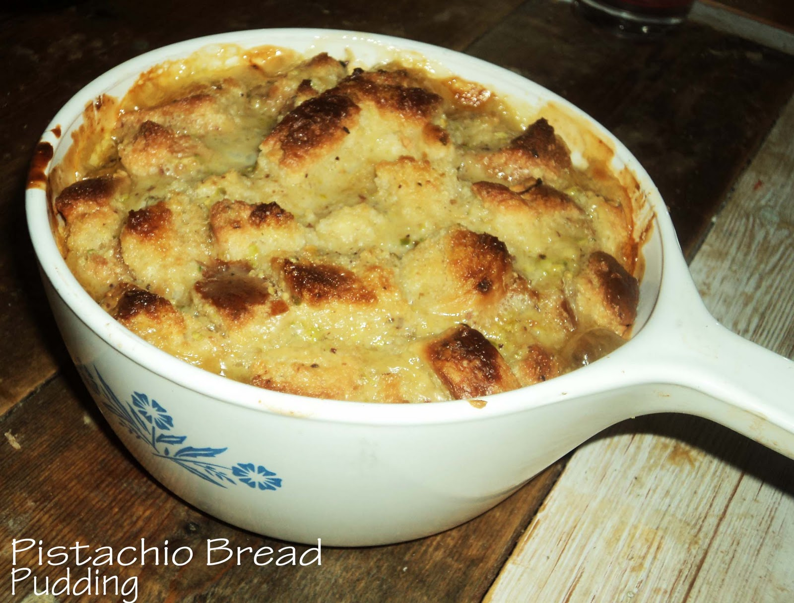 Bread Pudding with Homemade Pistachio Pudding - the craftingfiend