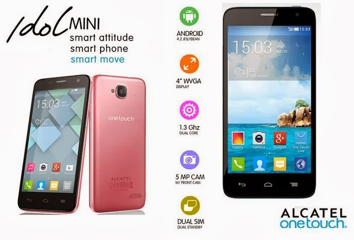 Another Series Of One Touch IDOL Latest Alcatel OT Mini Powered By 13 GHz Dual Core CPU Running On Android JB OS 40 Capacitive Display For A