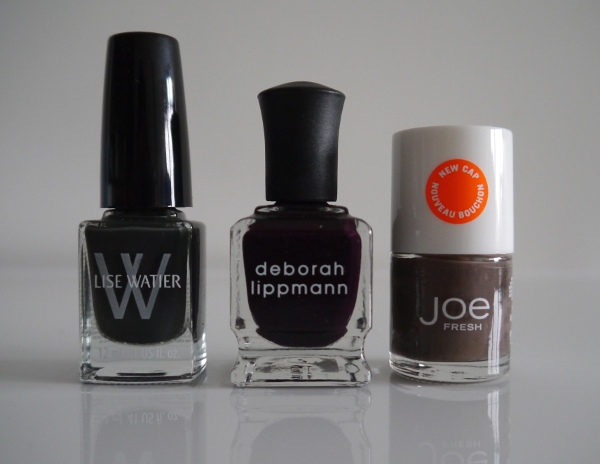 Creamy, dark nail polishes for Autumn/Winter 2013. Joe Fresh 'Pebble', Lise Watier 'Chic Tartan', Deborah Lippmann 'Dark Side of the Moon', Joe Fresh 'Pebble'