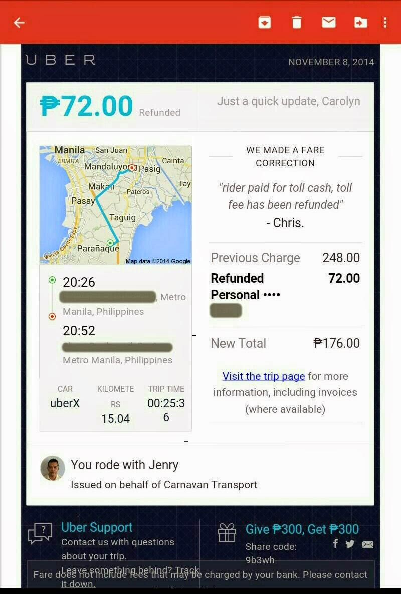 Uber Refund Notice