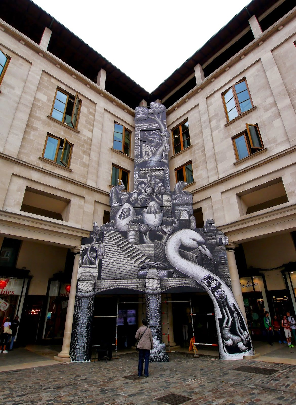 Phlegm is back in the UK where he just finished on this stunning installation for the Royal Opera House in Covent Garden, London, UK.