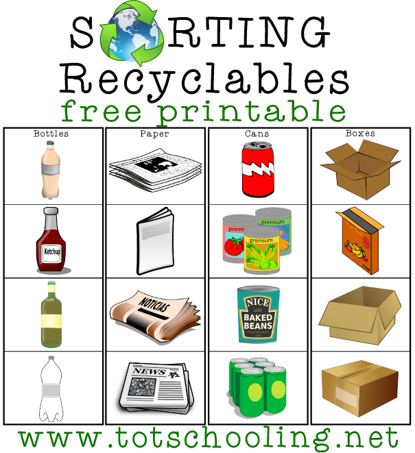 Sorting recyclables free printable totschooling for Recycling ideas for kids