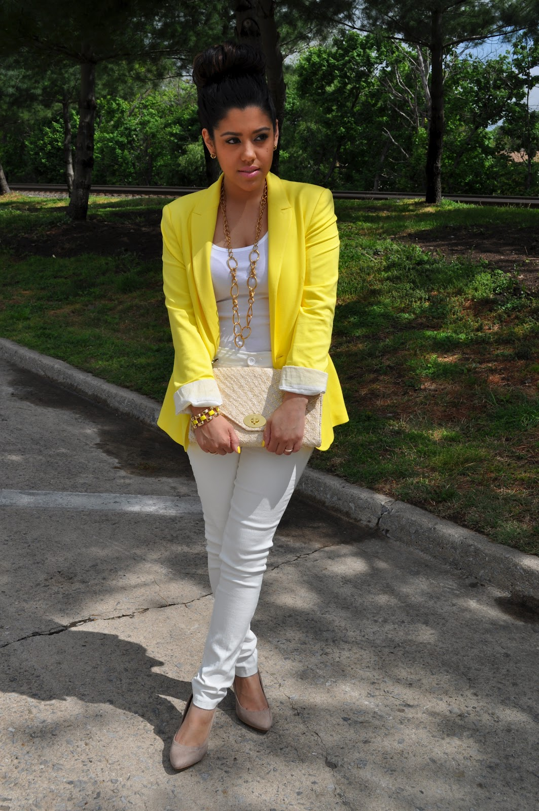 A Love Affair With Fashion  White Pants u0026 Yellow Blazer