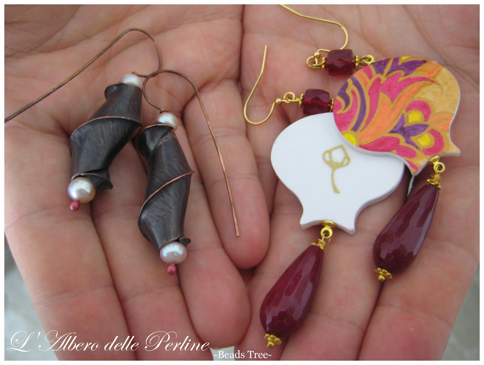Beads and Tricks and Paper Leaf earrings