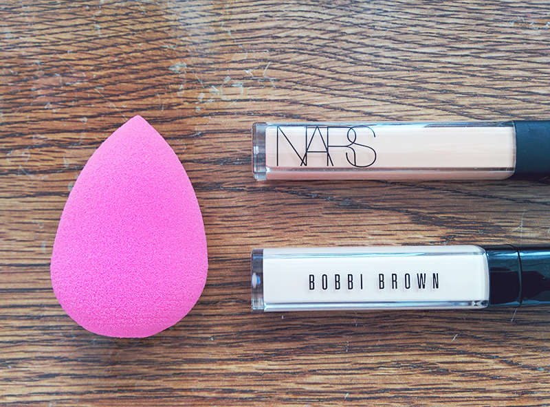 star violet - beauty blender, nars creamy concealer in honey, bobbi brown tinted eye brightener in porcelain bisque