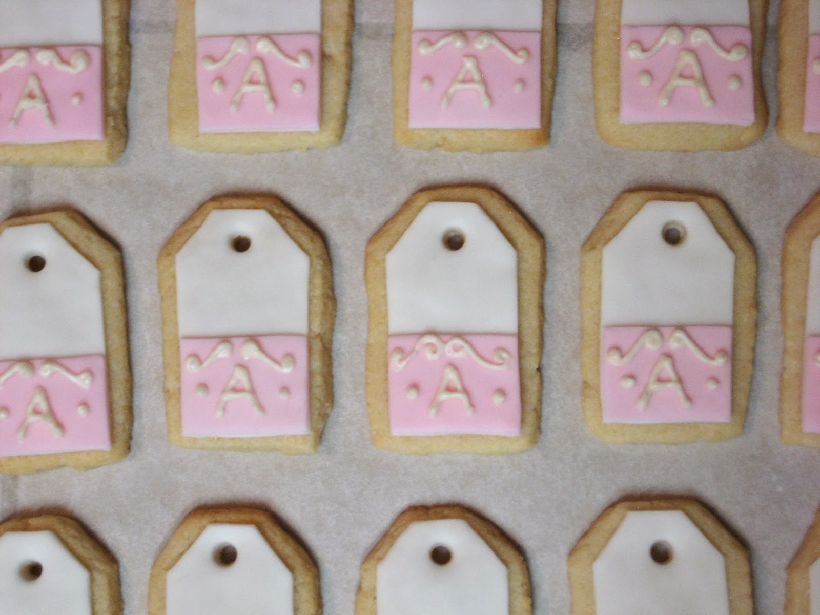 Shabby Chic Baby Shower Pink Teabag Cookies - Close-Up Overhead View