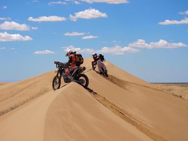 Beautiful Altar dunes.  I'm on my light 530, John is braving it on the huge 900 twin Cagiva
