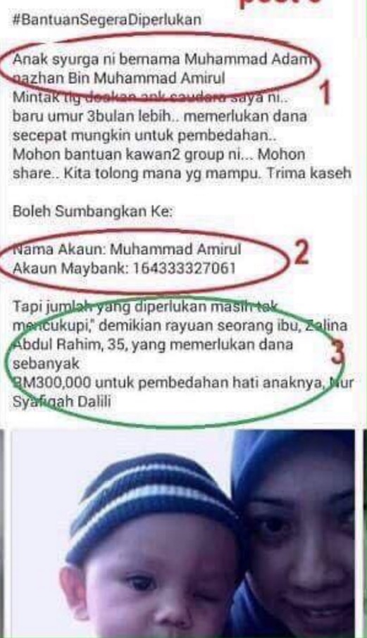 Muhammad Amirul, Penipu Siber Guna Foto Kanak-Kanak Sakit Kaut Derma