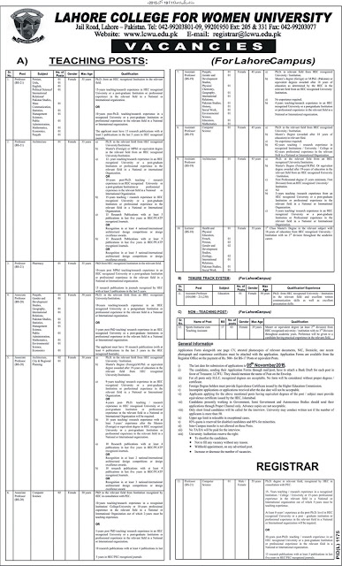 Lecturers Jobs in Lahore College for Women University