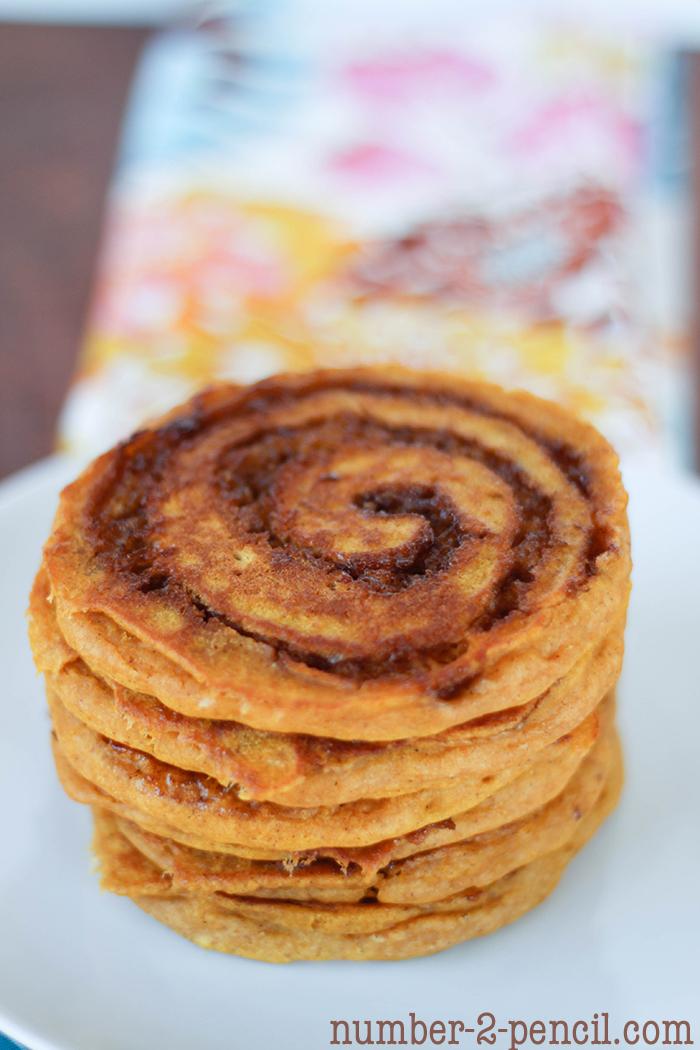Pumpkin cinnamon roll pancakes, Cinnamon Swirl and Cream Cheese Glaze