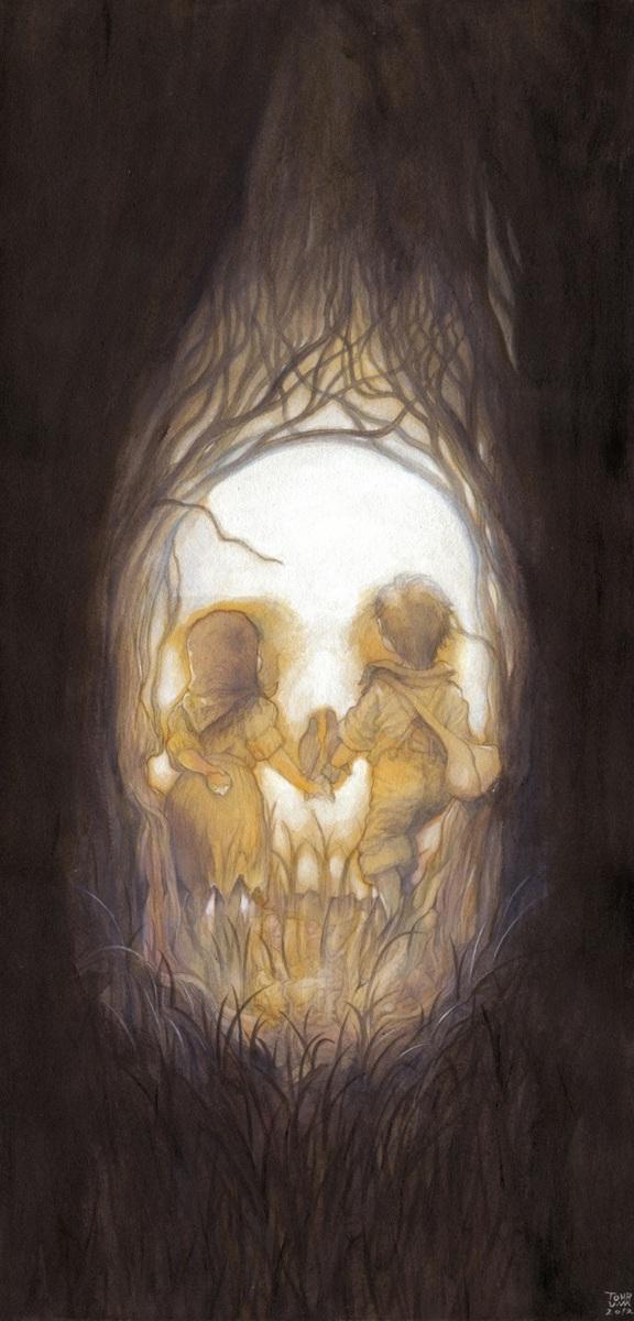 Hansel + Gretel by Patrick Awa -- Hans og Grete som dødningehovede