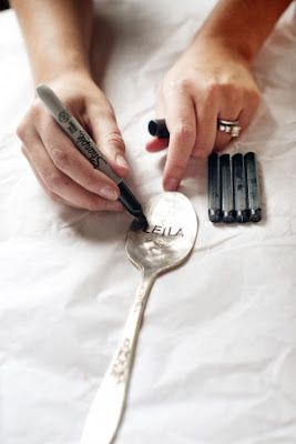 Spoon+7 DIY Wedding Ideas: Hammered Spoon Escort Cards