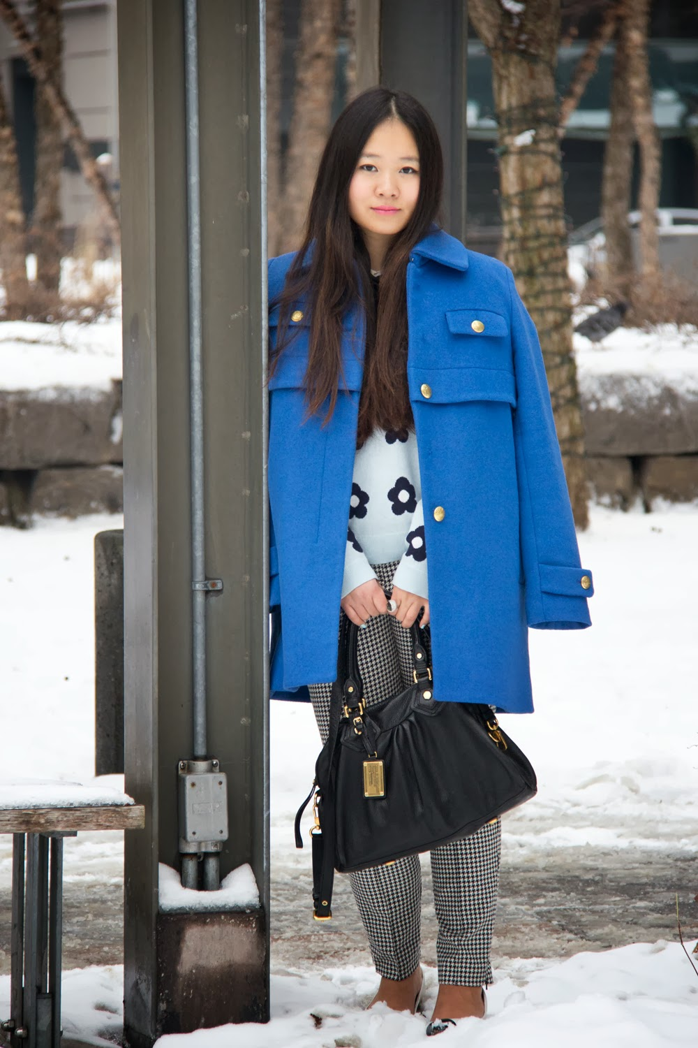 JoeFresh-Blue-Wool-Coat, Flower-Print-Sweater, TopShop-Black-and-White-Pants