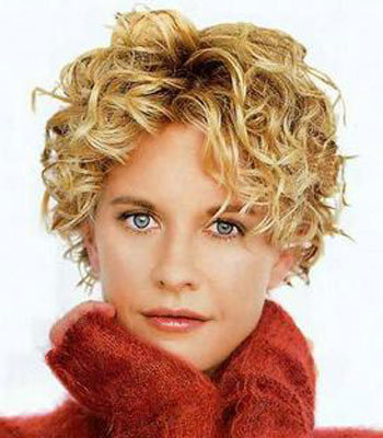 short curly haircut in blonde hair
