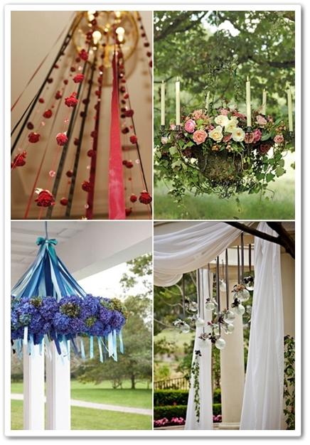 hängande blomsterdekorationer, floral Chandelier