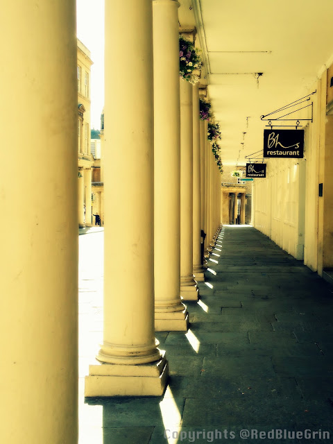 Pillars of a historical monument, Bath, UK