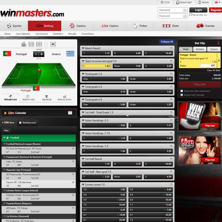 Winmasters Live Betting Offers