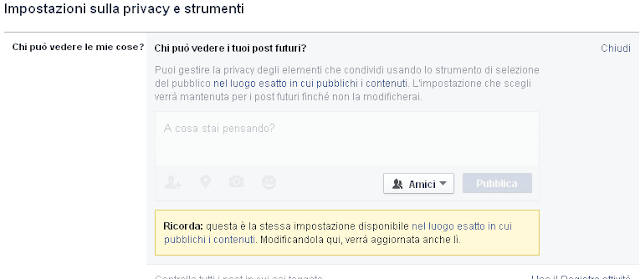 Facebook Chi può vedere i tuoi post futuri