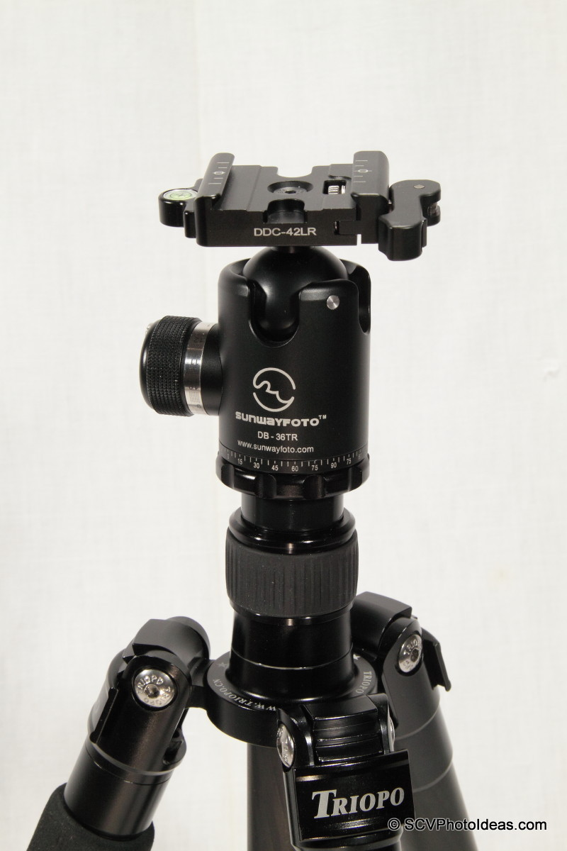Triopo GT-3228X8C standing w/ Sunwayfoto DB-36TRLR -closeup