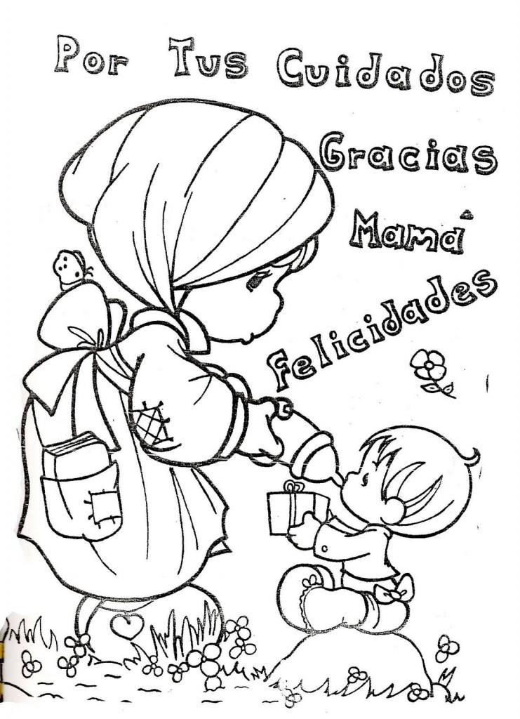 Dibujo del un Hijo dando un regalito a su madre y agradeciendo por ...