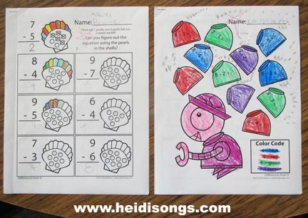 Monster Teeth Subtraction! And a HeidiSongs Subtraction Book!