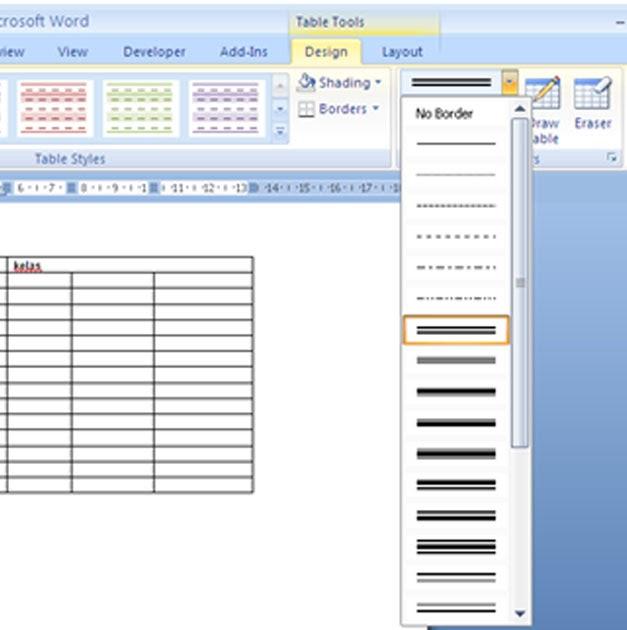 Membuat Garis Double pada Tabel ~ Tips dan Tutorial