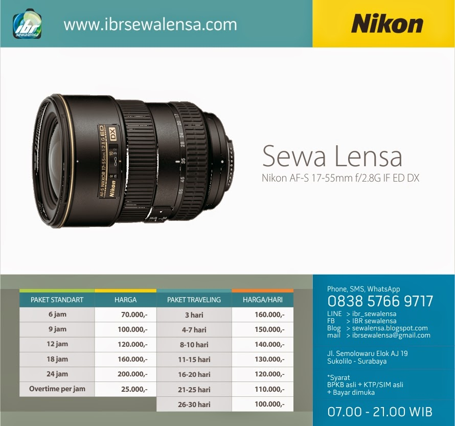 1755. Harga Sewa Lensa Nikon AF-S 17-55mm f/2.8G IF ED DX