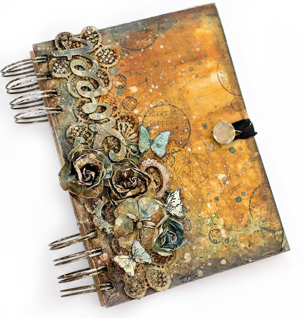 Scraps of Elegance scrapbook kits: Tiffany Solorio created this mixed media altered art journal with our Lisa's Sweet September Kit.