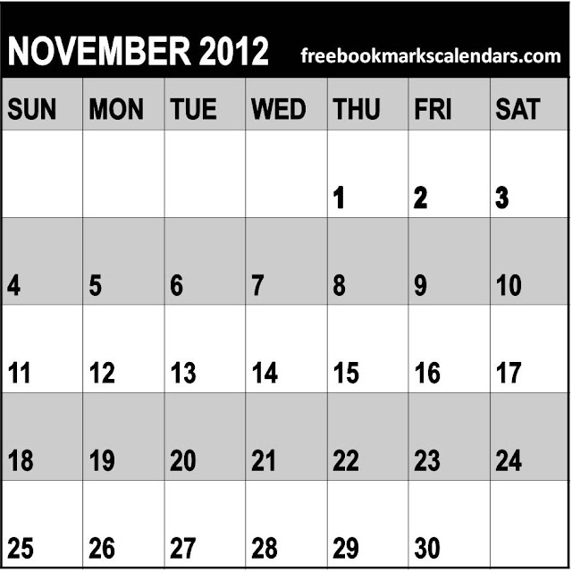 November Calendar 2012 : Free calendar planner