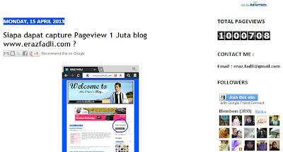 Alhamdulillah Pageview Blog ERAZ FADLI Capai 1 Juta