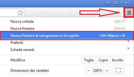 Come Attivare utilizzare Nuova Finestra di Navigazione in Incognito impostazioni Google Chrome