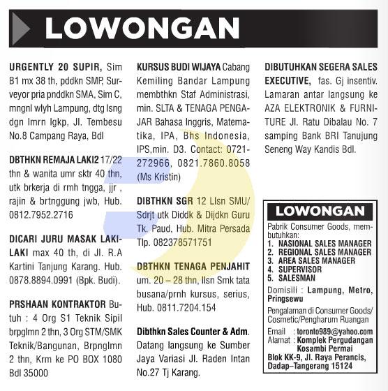 Lowongan Kerja Baris Lampung Post 29 Agustus 2015