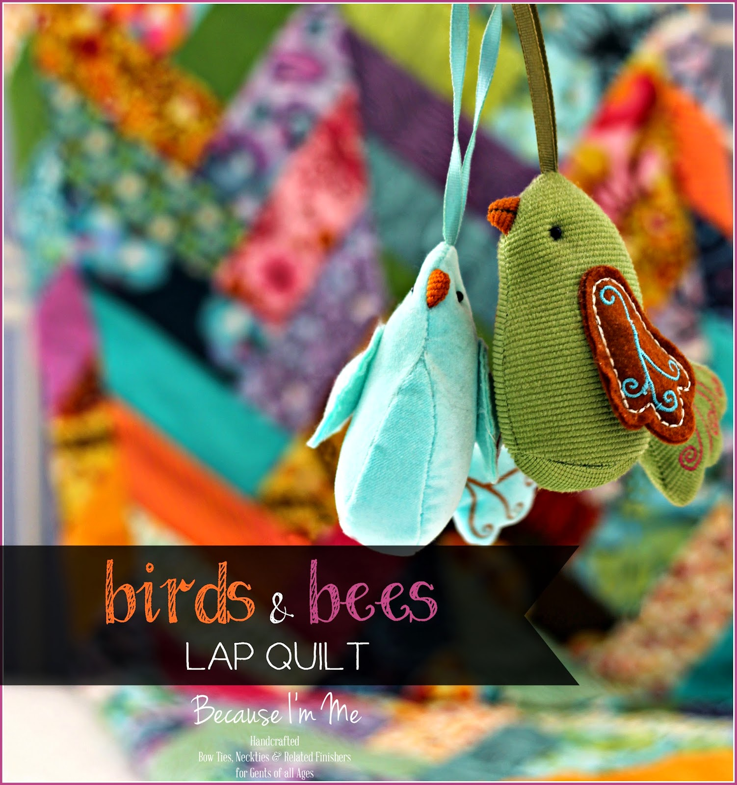 Birds and Bees crosshatch design baby, toddler, lap quilt for girls of any age,