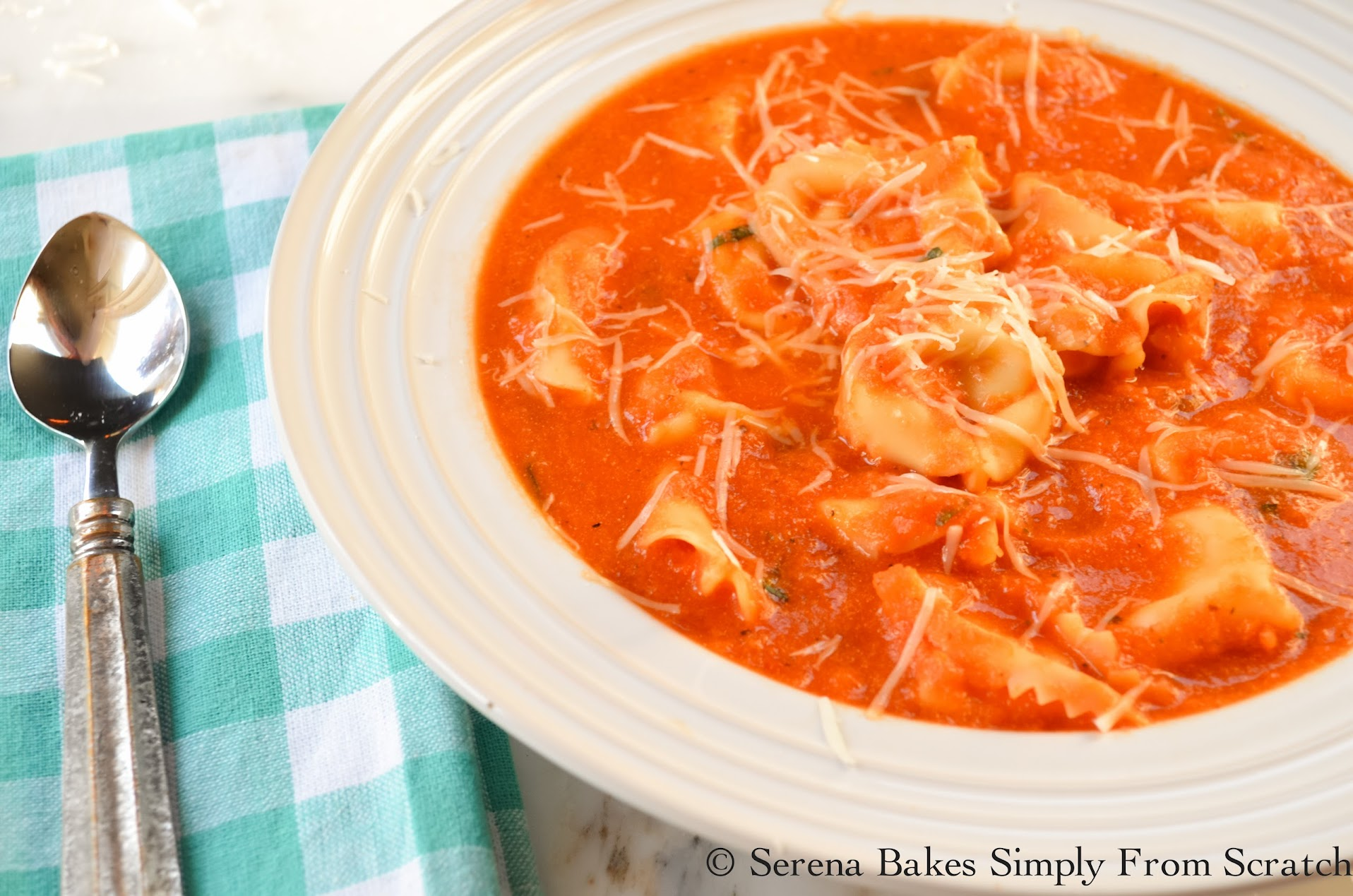 Creamy Tomato Tortellini Soup is an easy meal done in under 30 minutes.