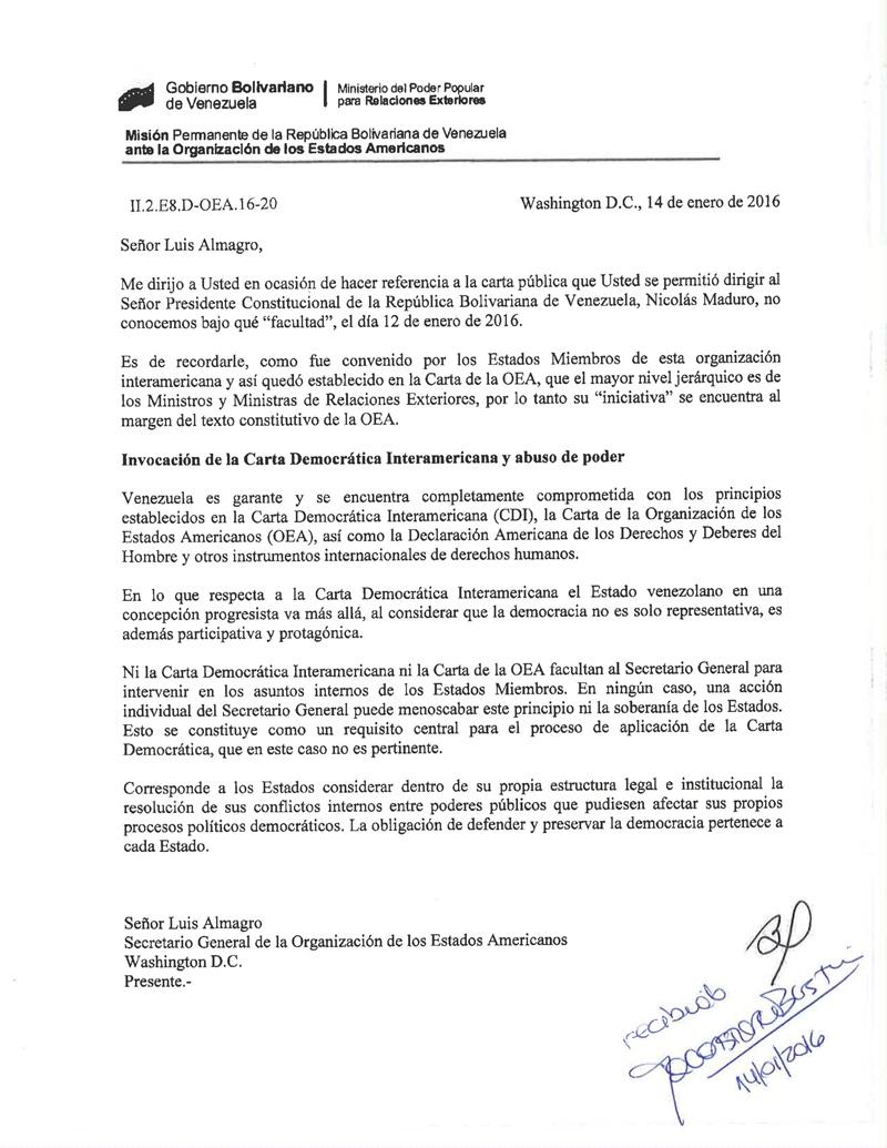 Lo que respondió Venezuela ante la advertencia Almagro