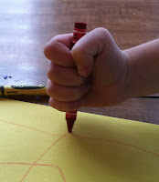 incorrect way to grasp a crayon, learning to write