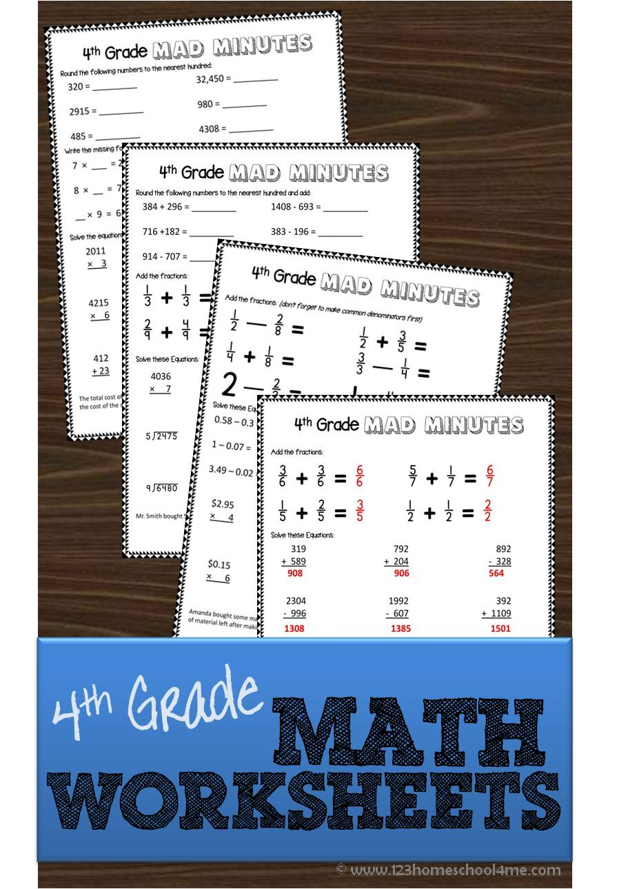 Free math worksheets for 4th grade