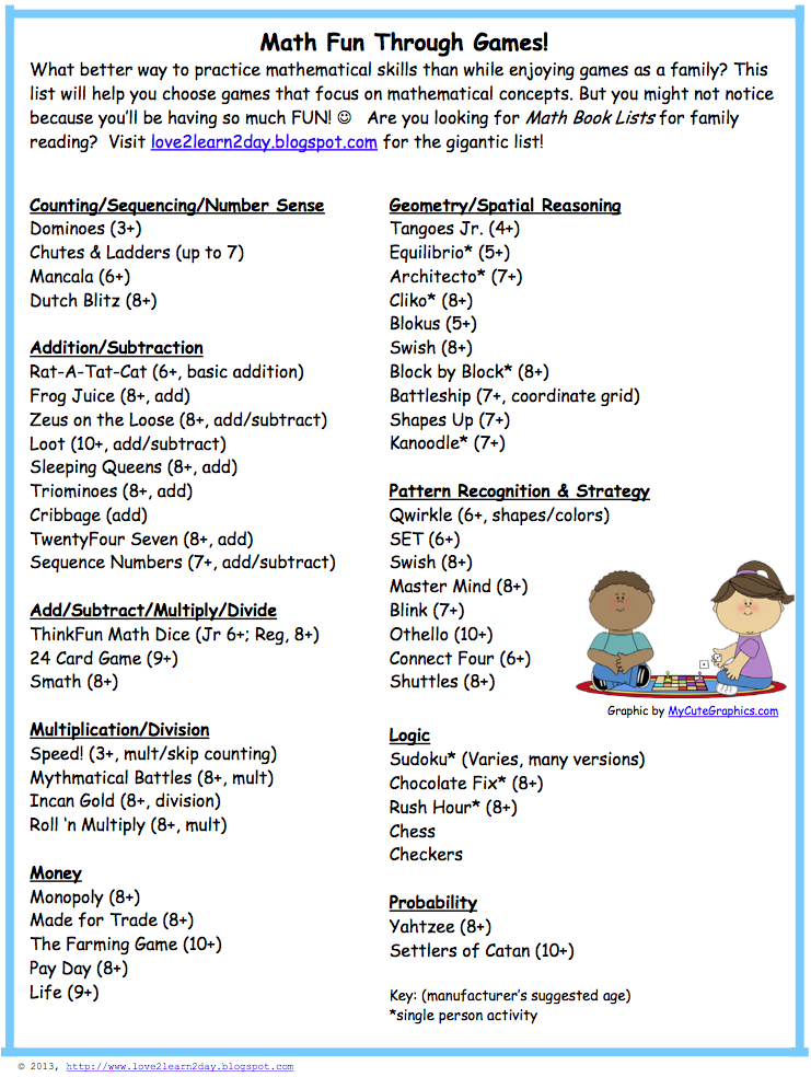 love2learn2day: Math Game List for Teachers and Parents! (freebie)