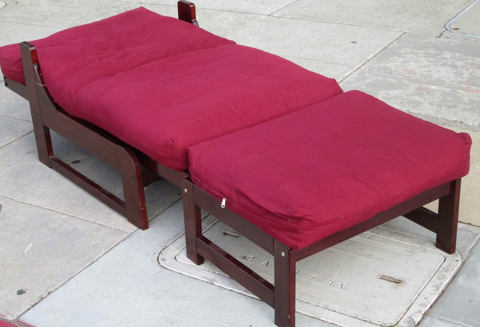 sold red single futon chair ottoman cushions    70 uhuru furniture  u0026 collectibles  sold red single futon chair      rh   uhurufurniture blogspot