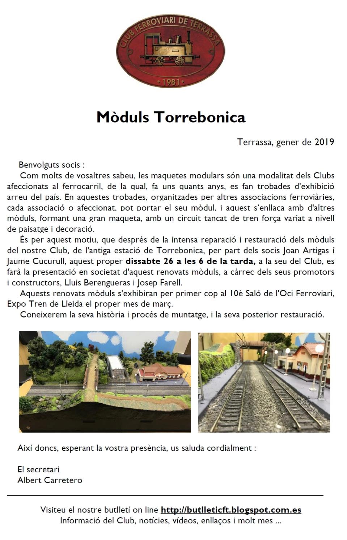 Presentació dels Mòduls de Torrebonica. Club Ferroviari de Terrassa