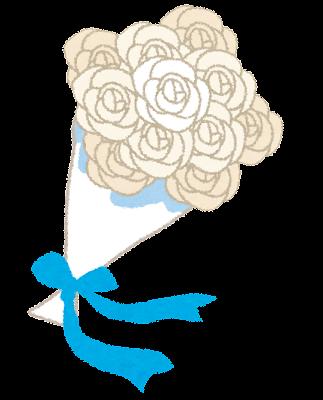 結婚式のイラスト「白いバラの花束・ブーケ」