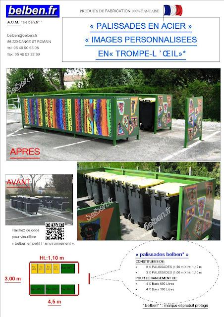 Palissades cache poubelles metallique