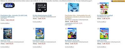 PlayStation Vita (Wlan + 3G) Vorbesteller-Aktion bei Amazon: Konsole für 299 Euro inklusive 8 GB Speicherkarte, Headset und 15 Euro Rabatt auf ein Spiel
